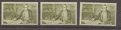 1966 Australia 75c James COOK  Navigator MUH Stamps x 3