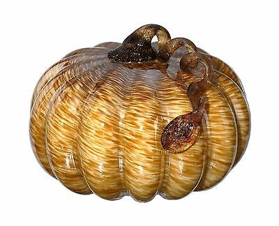 "New 9"" Hand Blown Art Glass Brown Pumpkin Sculpture Figurine Mottled Fall"