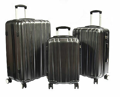 Travel Suitcase Luggage Four Wheels Spinner PC Hard Shell Trolley Case Grey