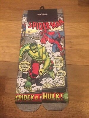 AbErcrombie MARVEL COMICS AVENGERS SUBLIMATED CREW SOCKS HULK SpIderman Boy Nwt