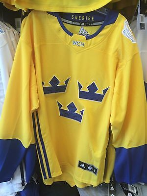2016 World Cup of Hockey Team Sweden Adidas Jersey Replica Size Small Yellow