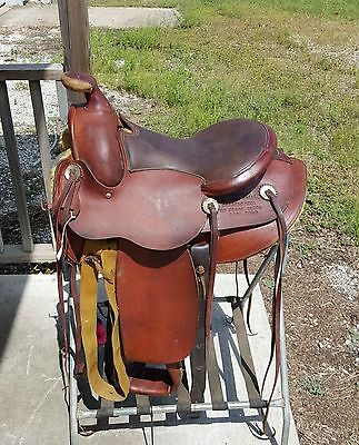 "Genuine Fred Mueller 15"" working ranch saddle see history of this saddle below"