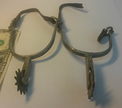 Vintage rare little horse rider spurs Gaucho South America cowboy leather straps
