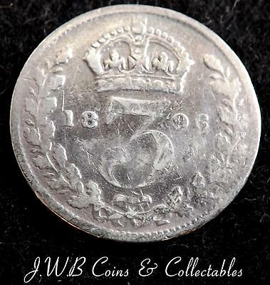 1896 Queen Victoria Silver 3d Threepence Coin - Great Britain.