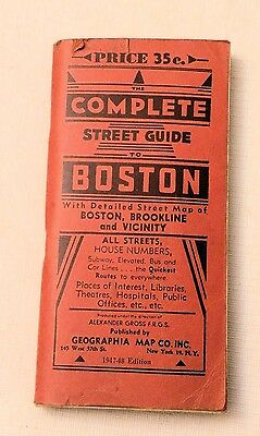 "1947/48, A Complete Street Guide to Boston, Brookline, Geographia, 26""x15"" MAP"