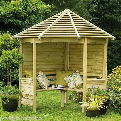 Wooden Garden Arbour Corner Bench Seat Roof Patio 4 Seater Furniture Structure