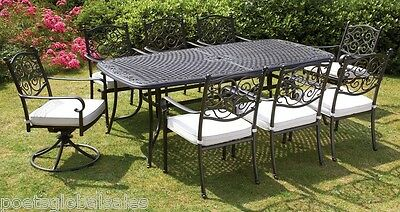 Garden Furniture Set Dining Table Swivel Staking Chairs 8 Seater Aluminium Metal