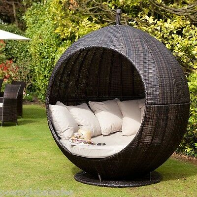 Garden Furniture Sofa Daybed Rattan Brown Cushions Patio Outdoor Yard Lounger