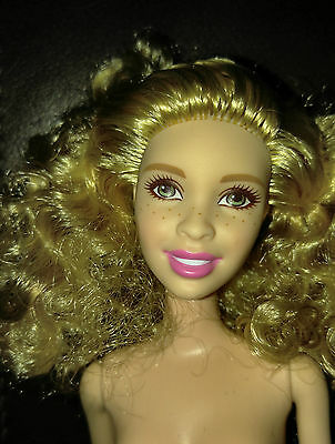 Barbie Doll Nude - Fashionistas - Golden Blond Hair - Adria Face Freckles