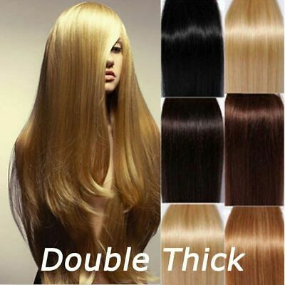 Extra Thick Real Human Hair Extensions Full Head Clip In Remy Double Weft QU069