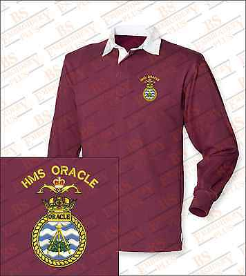 HMS ORACLE Embroidered Crested Premium Long Sleeved Rugby Shirt
