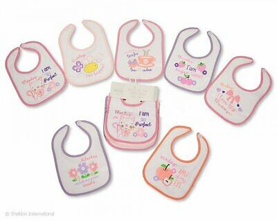 Nursery time Baby Boys Girls 7 Pack Days of the Week Plastic Backed Bibs