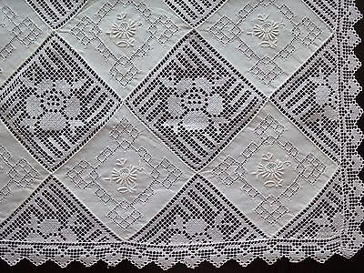 Stunning Fine Vintage Hand-Embroidered Filet Lace Table Runner with Ajour