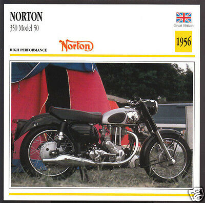 1956 Norton 350cc Model 50 (348cc) Motorcycle Photo Spec Sheet Info Stat Card