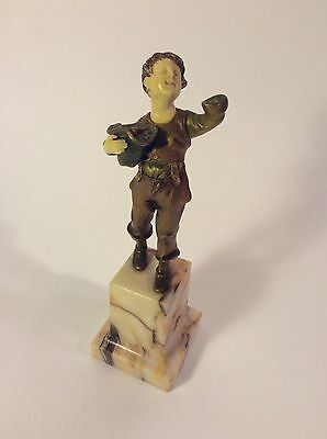 """French or Belgian Gilt Bronze 6"""" Figurine on Marble Base~ca 1900-1919"""