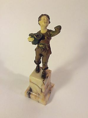 "Rare French or Belgian Gilt Bronze 6"" Figurine on Marble Base~ca 1900-1919"