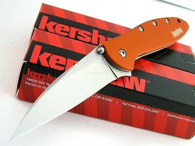 Kershaw USA Leek Flipper Speed Assisted Opening Orange Knife CLAM Pack 1660OR