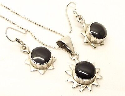 Vtg Sterling Silver Onyx Sun Necklace Earring Set Taxco Mexico Estate Cabochon