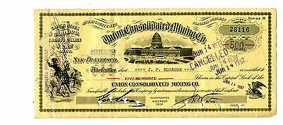 1937 Union Consolidated Mining Company 500 Share Certificate Story County Nevada