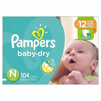 Pampers Baby Dry Diapers Size N Super Pack 104 Count Newborn