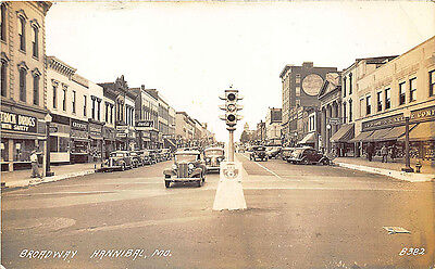Hannibal MO Store Fronts Coca-Cola Sign & Truck Old Cars RPPC Postcard