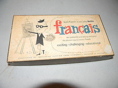 Vintage Berlitz Card Game Francais 1955 - Learn French Vintage