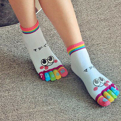 Rainbow Lady Woman Girl Smile Face Five Fingers Trainer Toe Ankle Sport Socks