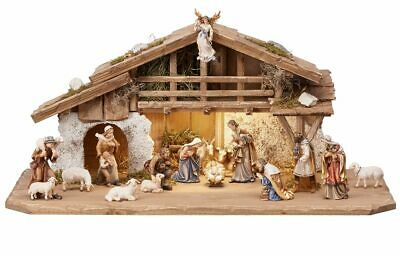 14 Piece Kostner Nativity Woodcarving Set by PEMA with Stall / Creche