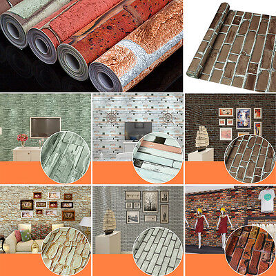 45CM*10M Roll Natural Embossed 3D Brick Wall Wallpaper Home Decor TV Background