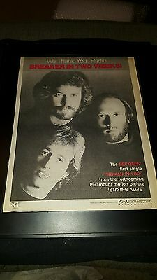 Bee Gees Woman In You Rare Original Radio Promo Poster Ad Framed!
