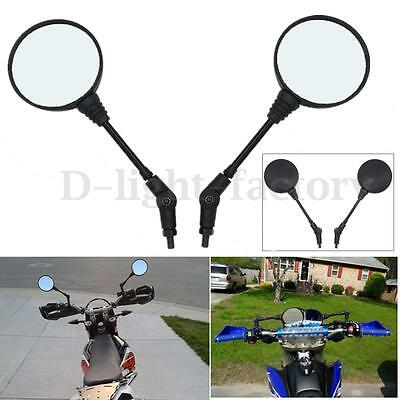 2x Universal Round Motorcycle Scooter Bicycles Folding Rearview Side Mirror 10mm