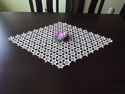 Lovely Vintage Handmade Cotton Crochet Ecru Rhomboid Tablecloth