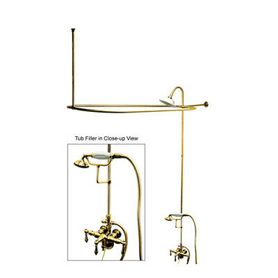 Vintage Triple Handle Wall Mount Down Spout Clawfoot Tub and Shower Package