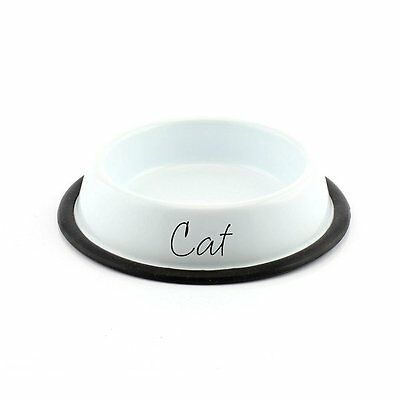 Modern Bright White & Black Metal CAT Bowl Food Water Feeding Dish LP27894