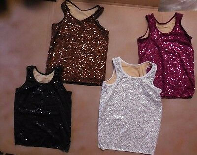 NWT Sequin tank sleeveless pullover Mens/Boys Szs front & backlined spandex