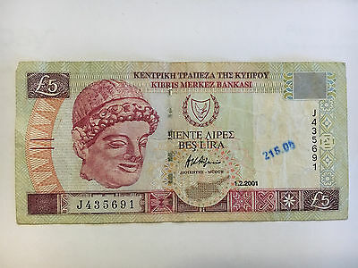 Cyprus 5 Pounds 2001 Church Mosque Currency Money Bill Note Vg