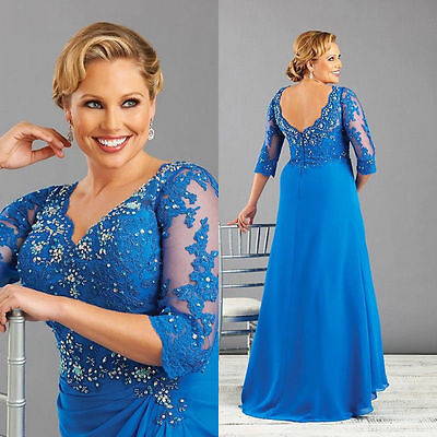 Plus Size Mother of the Bride Dresses Lace Evening Wedding Party Dress Custom