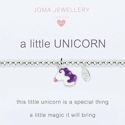 Joma Jewellery Girls a little Unicorn CHILDRENS silver charm bracelet & gift bag