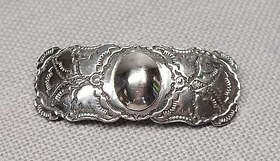 """Sterling Silver Fred Harvey Era Stamped Hair Clip Barrette Unsigned 2 5/8"""" Long"""