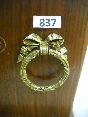 Antique Brass Ring Ribbon Single Screw Drawer Pull