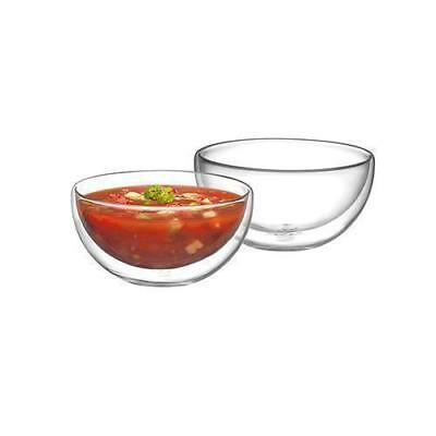 2x Double Wall Bowl, 250mL, Avanti, Gift Boxed / Glass Bowls / Dessert / Soups