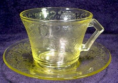 YELLOW Depression Glass FLORENTINE No. 2 Poppy CUP & SAUCER Hazel Atlas AMBER