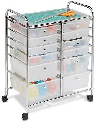 Craft Office Tool Paper Organizer 12-Drawer Rolling Cart Chrome Plastic Mobile