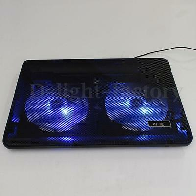 Laptop / Notebook PC Cooling Stand Pad 2 Blue LED Light Cooler Fan With USB Hub