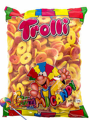 SOUR PEACH RINGS LOLLIES -1.5 KG -TROLLI - Lolly Buffet, Parties Post Included