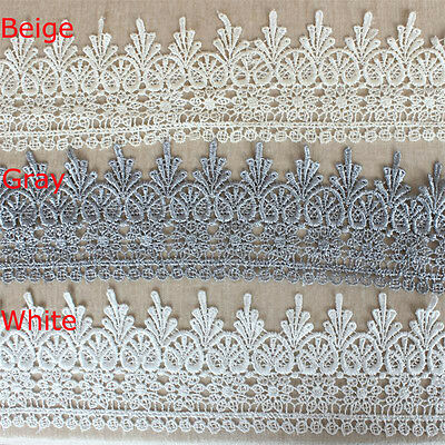 1/3/5 Yards Polyester Embroidered Lace Trimming Wedding Bridal Sewing Craft