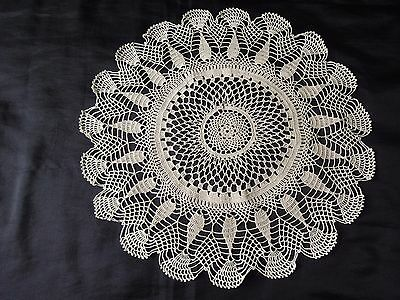 Beautiful Vintage Handmade Cotton Crochet  Ecru Round Tablecloth