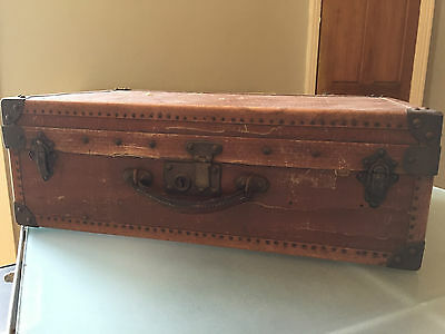 Old FRENCH Brown Tan Vintage Case SUITCASE Leather Handle Large 60X36cm Hard Top