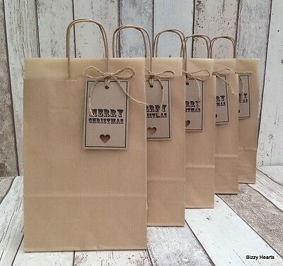 Brown Kraft Christmas Xmas Gift Bags With Tissue Tag & Twine Set Of 5