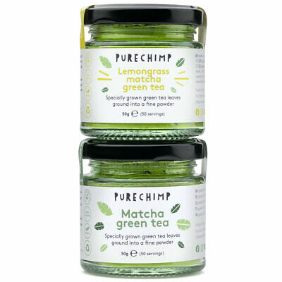 2 x 50g Jars - Matcha Tea by PureChimp  - Regular/Lemon/Mint/Turmeric Flavoured